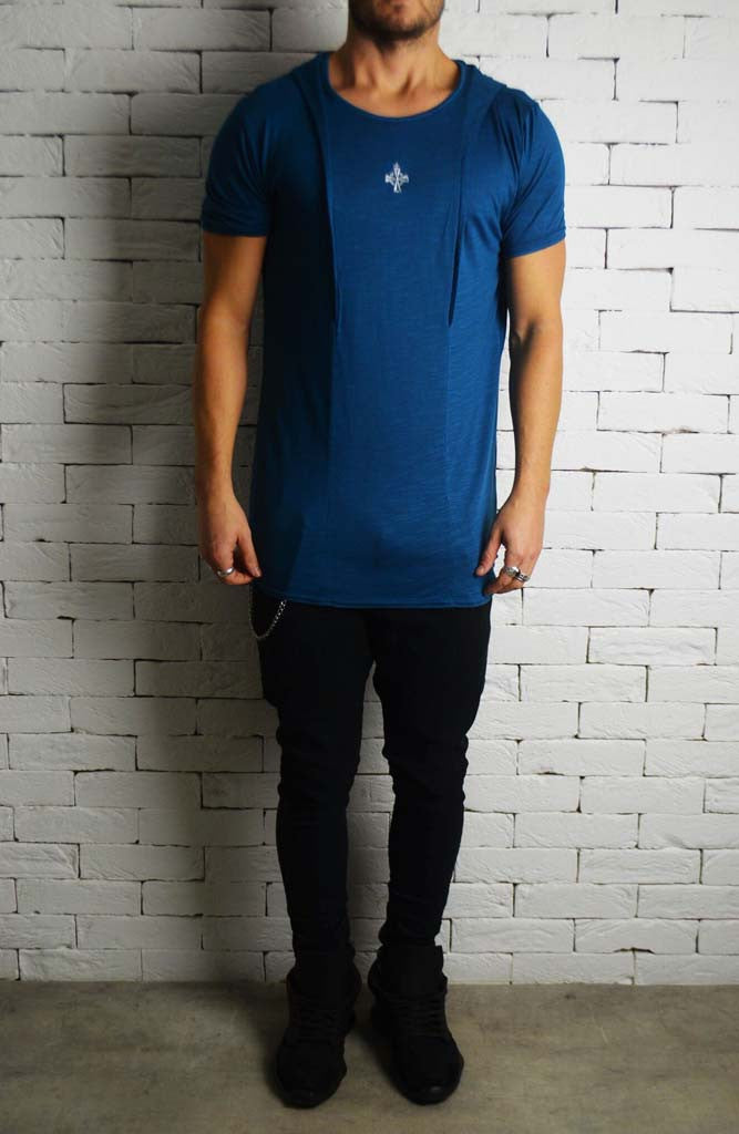 Teal Slub Hood T-Shirt | Men's T-Shirts | Alex Christopher Clothing