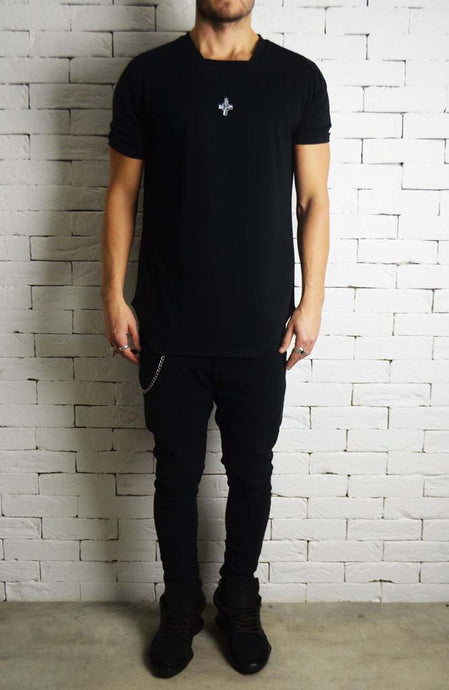 Black Square Neck T-Shirt | Men's T-Shirts | Alex Christopher Clothing