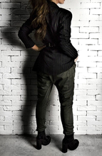 Suit Blazer - Black/Brown Pinstripe