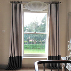 Full Length Cartridge Pleat Curtains with Deep Contrast Border
