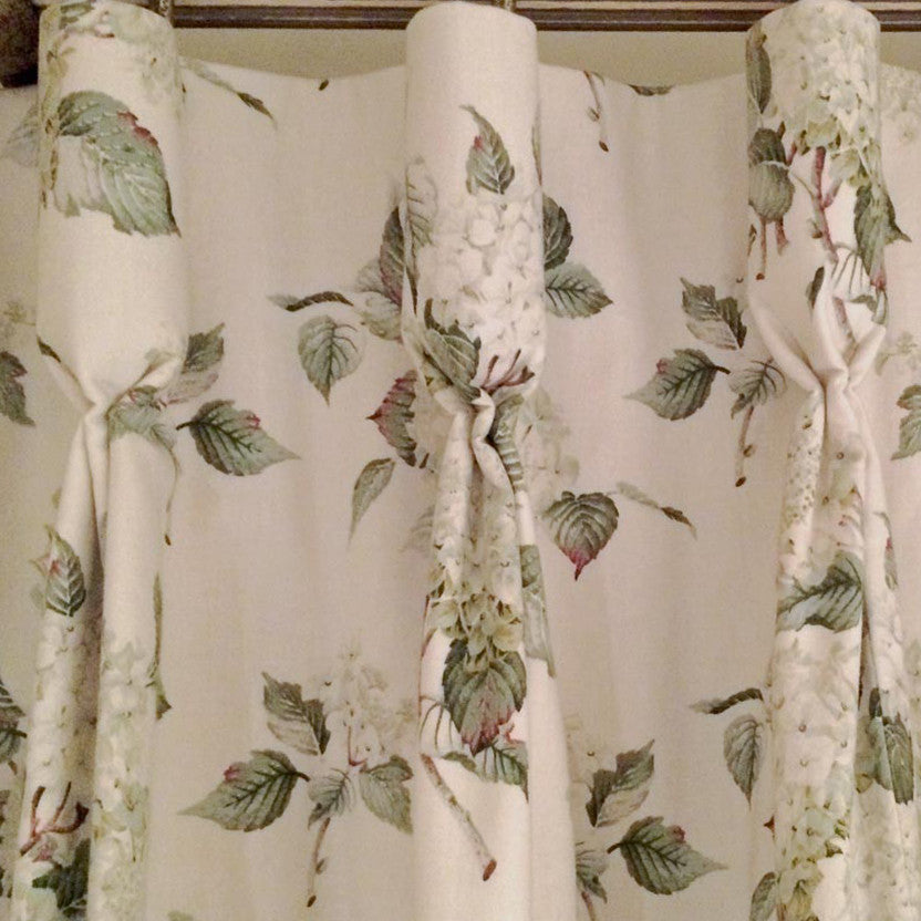 Quaint Goblet Pleat Curtains for a Pretty Cottage Bedroom