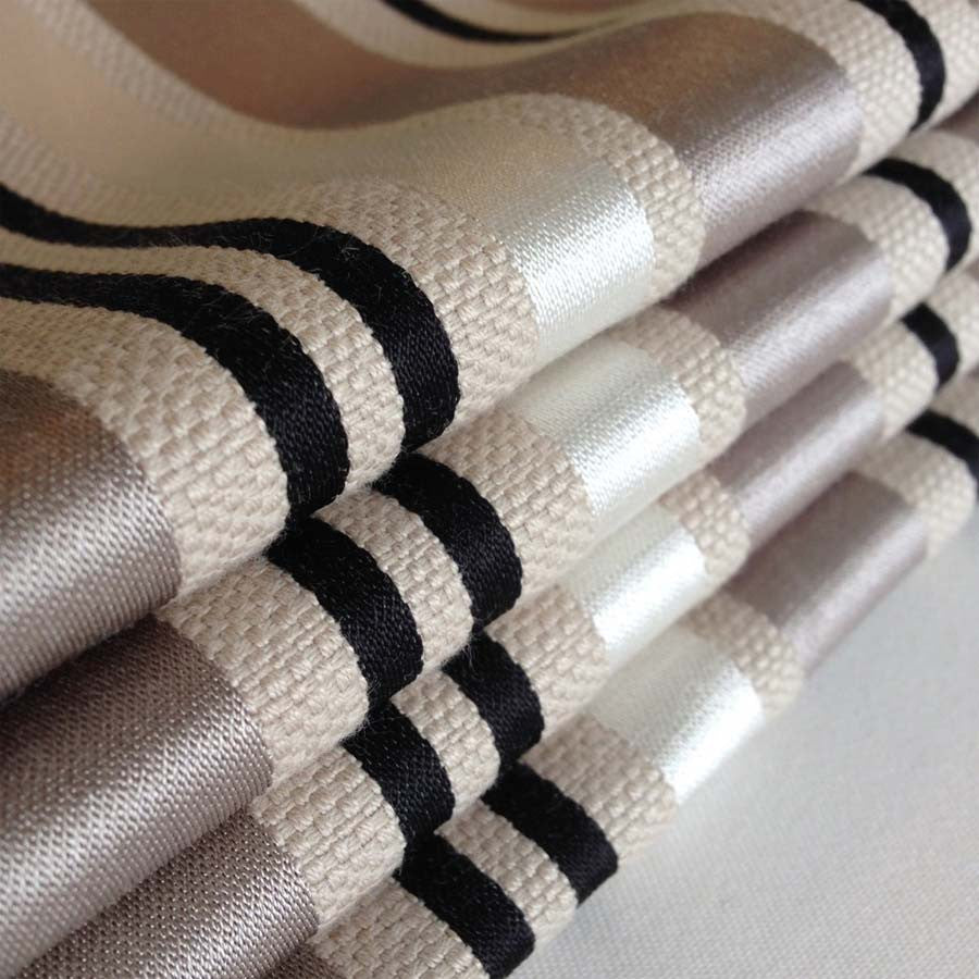 Charcoal and Silver Striped Roman Blinds - with a little bit of shine!