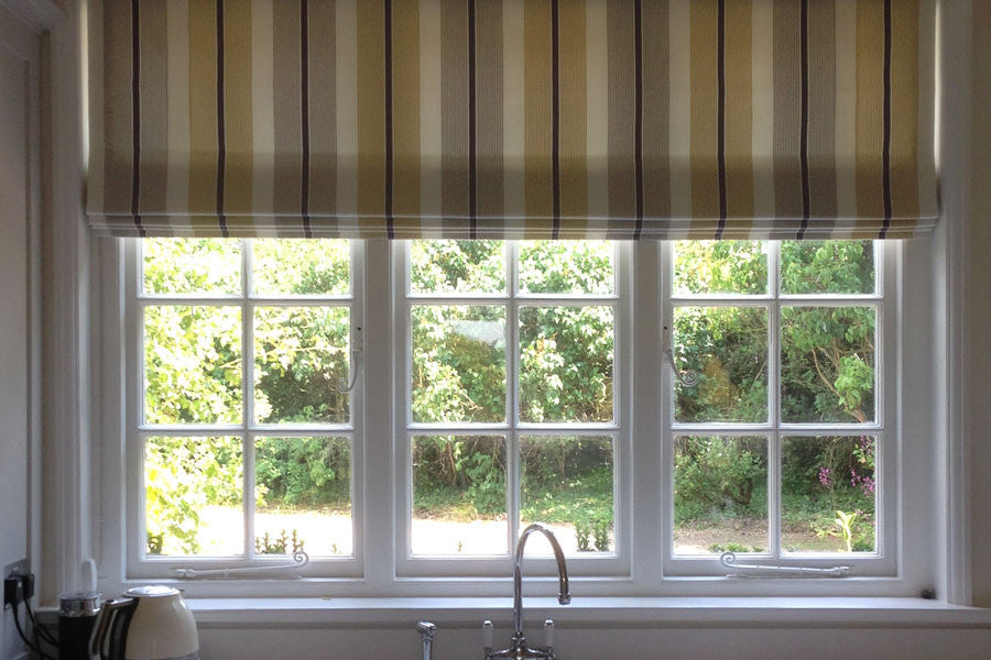 Stripe Roman Blinds are perfect for this stunning new kitchen ...