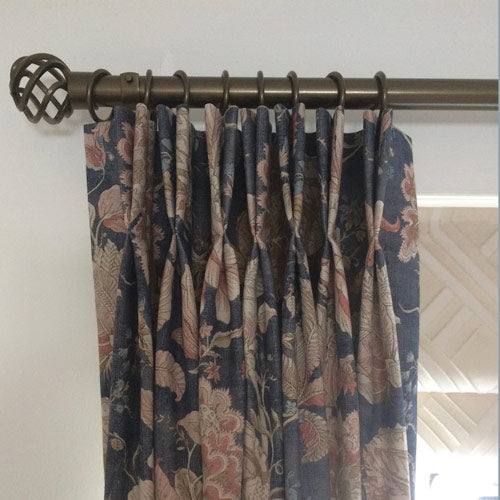 double pinch pleat floral curtains