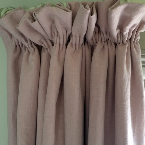 interlined curtains faded pink linen