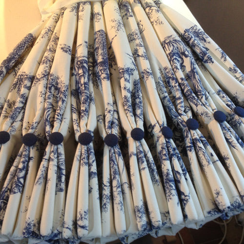 blue toile fabric curtains