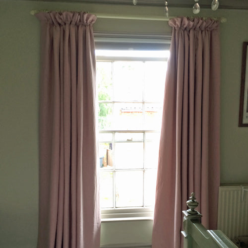 pretty pink linen curtains
