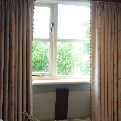 room shot floral linen curtains with soft fan trim