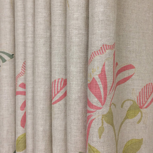 floral fabric linen curtains with pretty trim
