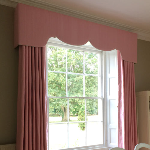 pink silk curtains and pelmets