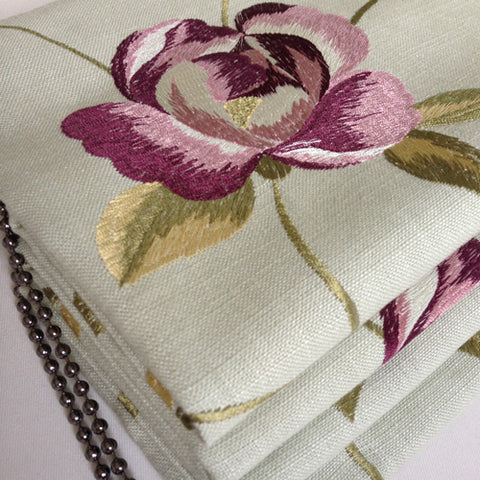 embroidered fabric for handmade roman blinds, Suffolk