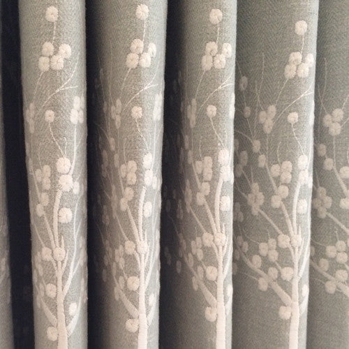 curtains in embroidered duckegg curtain fabric