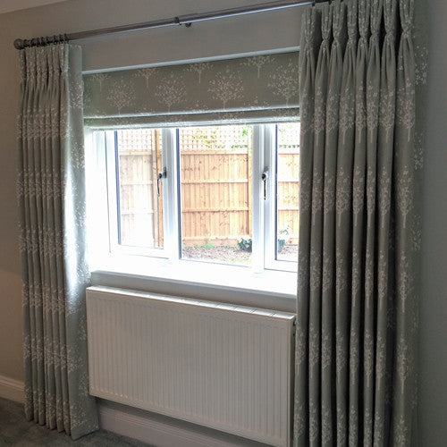 curtains and roman blind in embroidered duckegg linen fabric