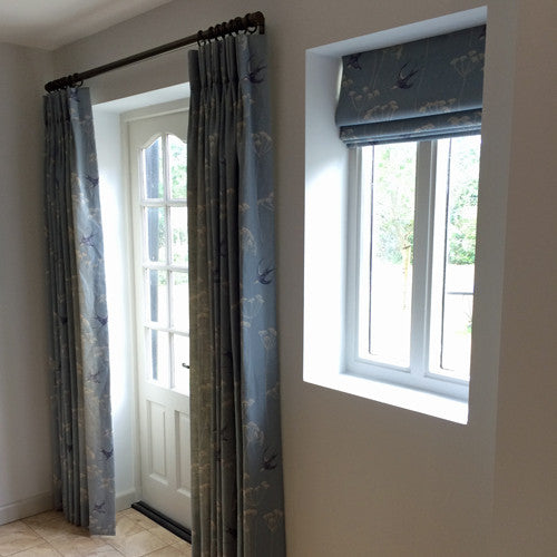 curtains and roman blind in sarah hardaker linen fabric, suffolk