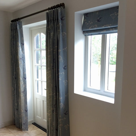 curtains and roman blind in blue linen fabric wiveton sky