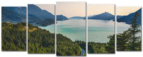 Serene Lake Mountains 5pcs Wall Art