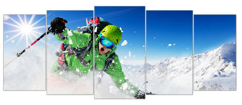 Live Breathe Ski 5pcs Wall Art