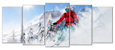 I'd rather be skiing 5 pcs wall art