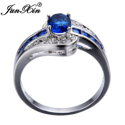 Blue Oval Zircon Ring White Gold Filled - Free Shipping