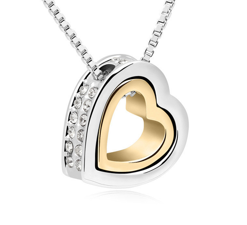 Gold Plated Austrian Crystal Heart Necklace