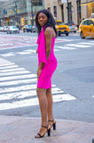 One long sleeve 1 shoulder fuchsia  dress