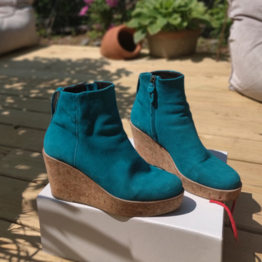 Teal Suede Booty
