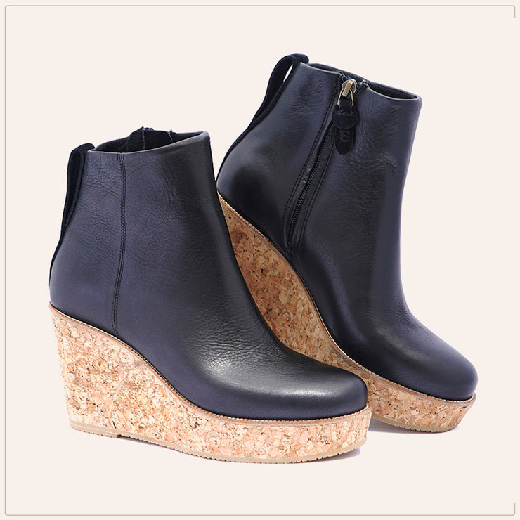 Black Ankle Wedge Bootie - TSouls