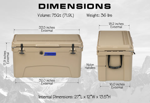 Big Frig Denali 75 QT Cooler Dimensions
