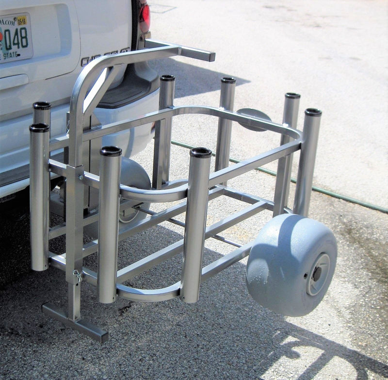 Aluminum Beach Fishing Cart With Detachable Receiver Hitch