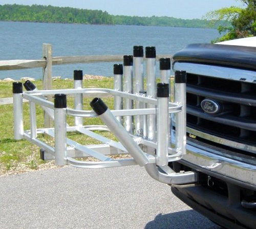 Rod rack 12 rod holder hitch mount reels on wheels by cpi for Hitch fishing rod holder