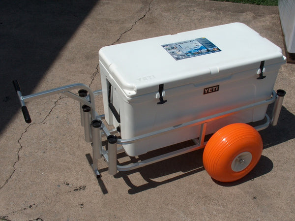 Wide fishing cart with ballon tires.