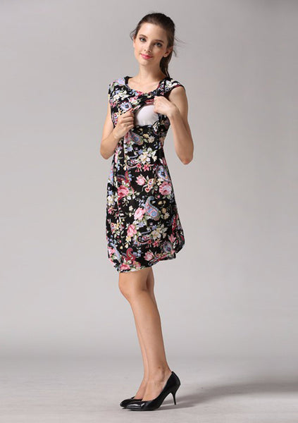Black Floral Nursing Dress