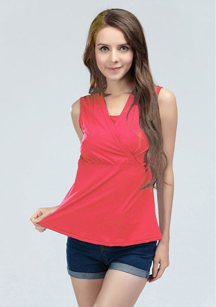 Hot Pink Sleeveless Nursing Top