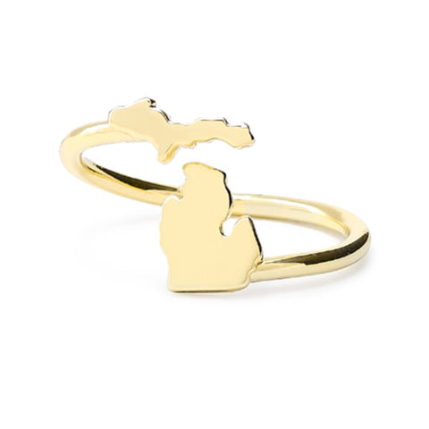 <B><I>NEW!</B></I> Gold Plated Love Michigan Wrap Ring (MOQ 2)