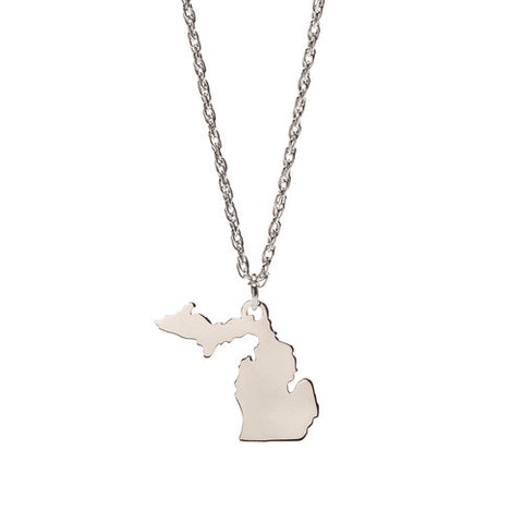 <B><I>BEST SELLER!</B></I> Stainless Steel Michigan Map Charm Pendant Necklace (MOQ 5)
