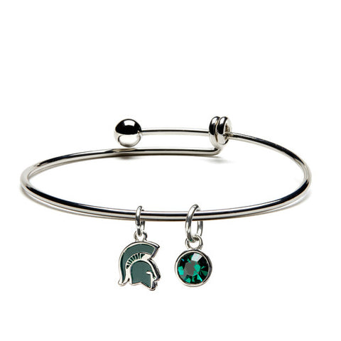 MSU Charm Bracelet Bangle with Spartan Head & Green Crystal Dangle Charm (MOQ 2)