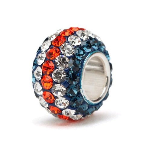 <B><I>BEST SELLER!</B></I> Navy Orange and Clear Stripe Crystal Charm (2 MOQ)