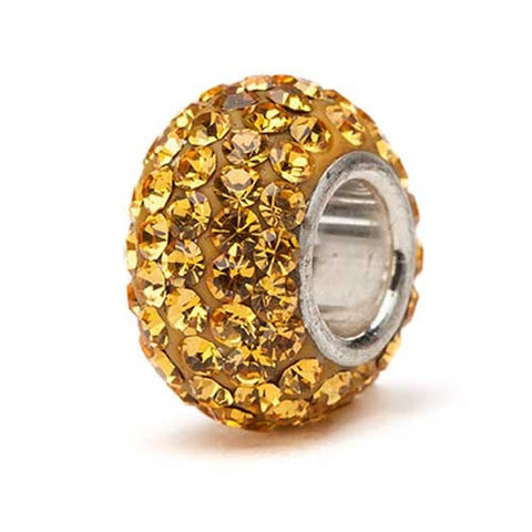 Gold Crystal Sparkle Charm Bead silver core (2 MOQ)