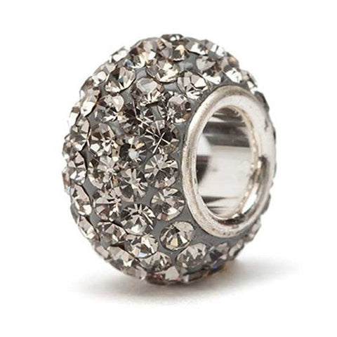 Grey Sparkle Crystal Charm Bead silver core (2 MOQ)