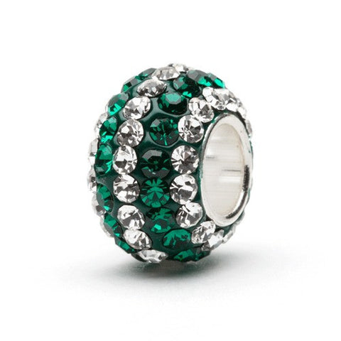 Green With Clear Stripe Crystal Charm (2 MOQ)