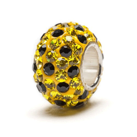Yellow and Black Spotted Crystal Bead Charm (2 MOQ)