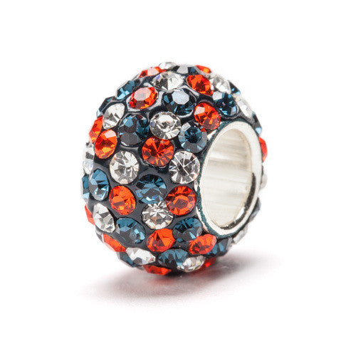 Blue, Orange and Clear Spotted Crystal Bead Charm (2 MOQ)