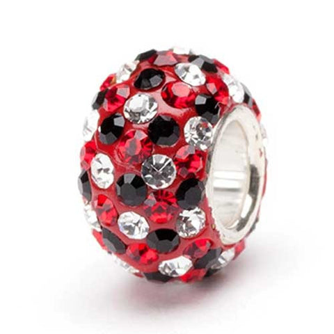 Red, Black and Clear Crystal Bead silver (2 MOQ)