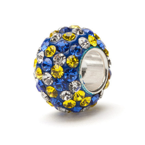 Blue with Yellow Crystal Bead Charm (2 MOQ)