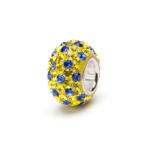 Yellow and Blue Crystal Bead silver core (2 MOQ)