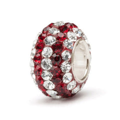 Crimson With Clear Stripe Crystal Charm Bead (2 MOQ)