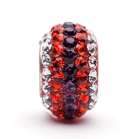 Orange, Purple and Clear Striped Crystal Bead Charm (2 MOQ)