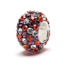Purple, Orange and Clear Spotted Crystal Bead Charm (2 MOQ)