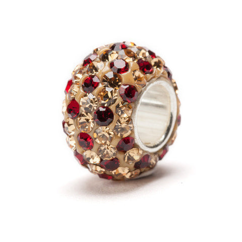 Gold and Red Spotted Crystal Bead Charm (2 MOQ)