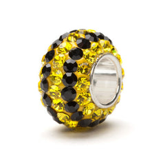 Yellow and Black Striped Crystal Bead Charm Fits Pandora (2 MOQ)